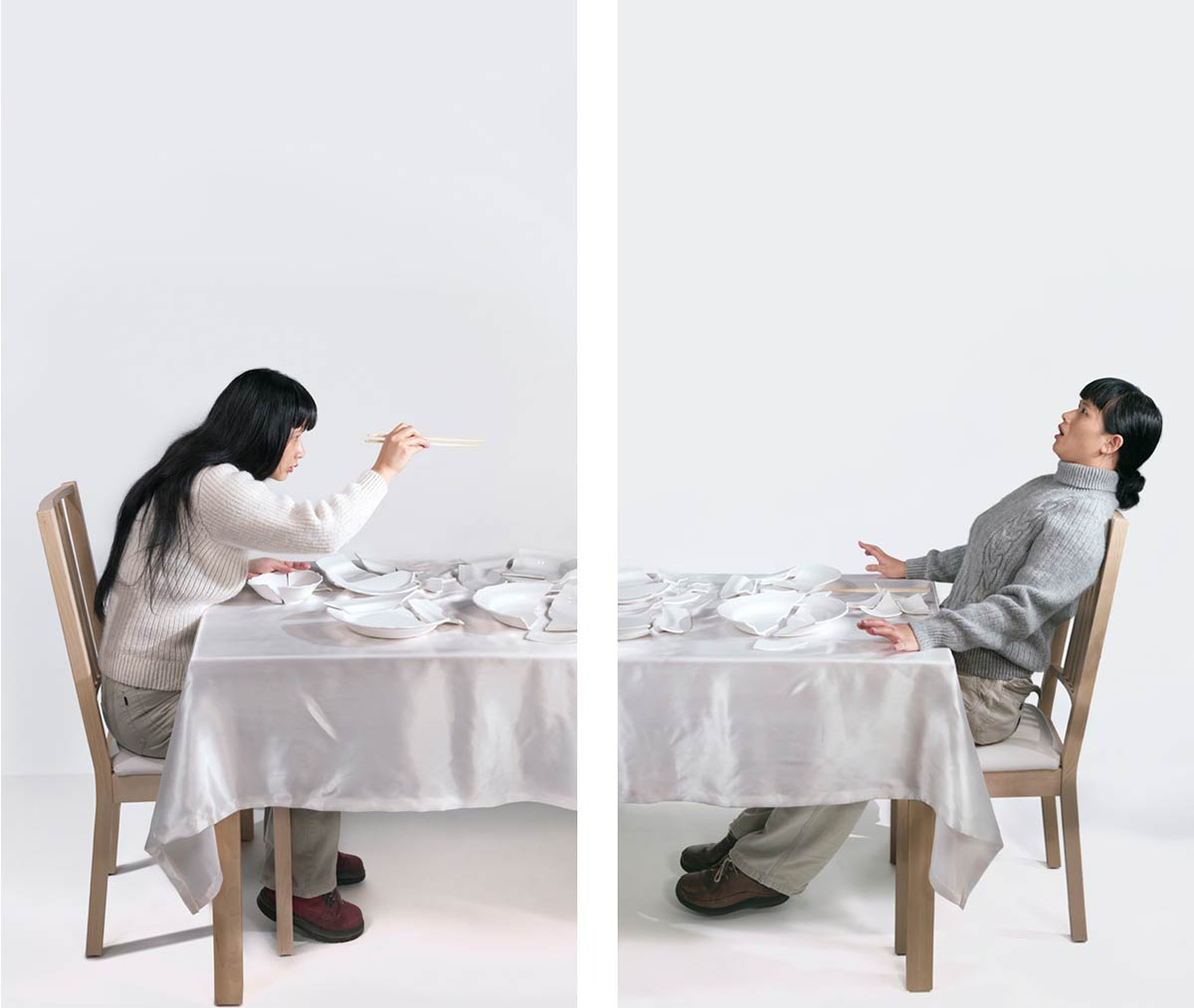 Chun Hua Catherine Dong uses her body to play a couple in domestic lives: she wears the husband's clothing to present his presence. wife is left and husband is right.
