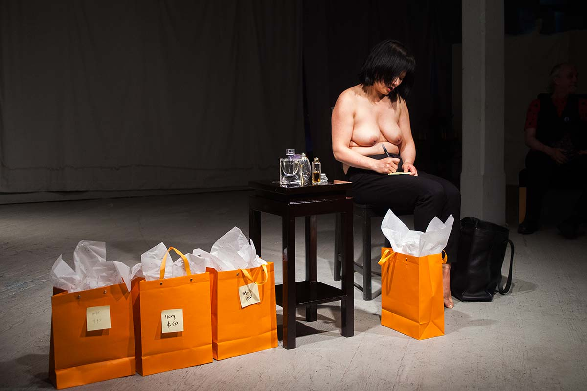 Chun Hua Catherine Dong sold her perfumed shirt, belt, and shoes to audiences