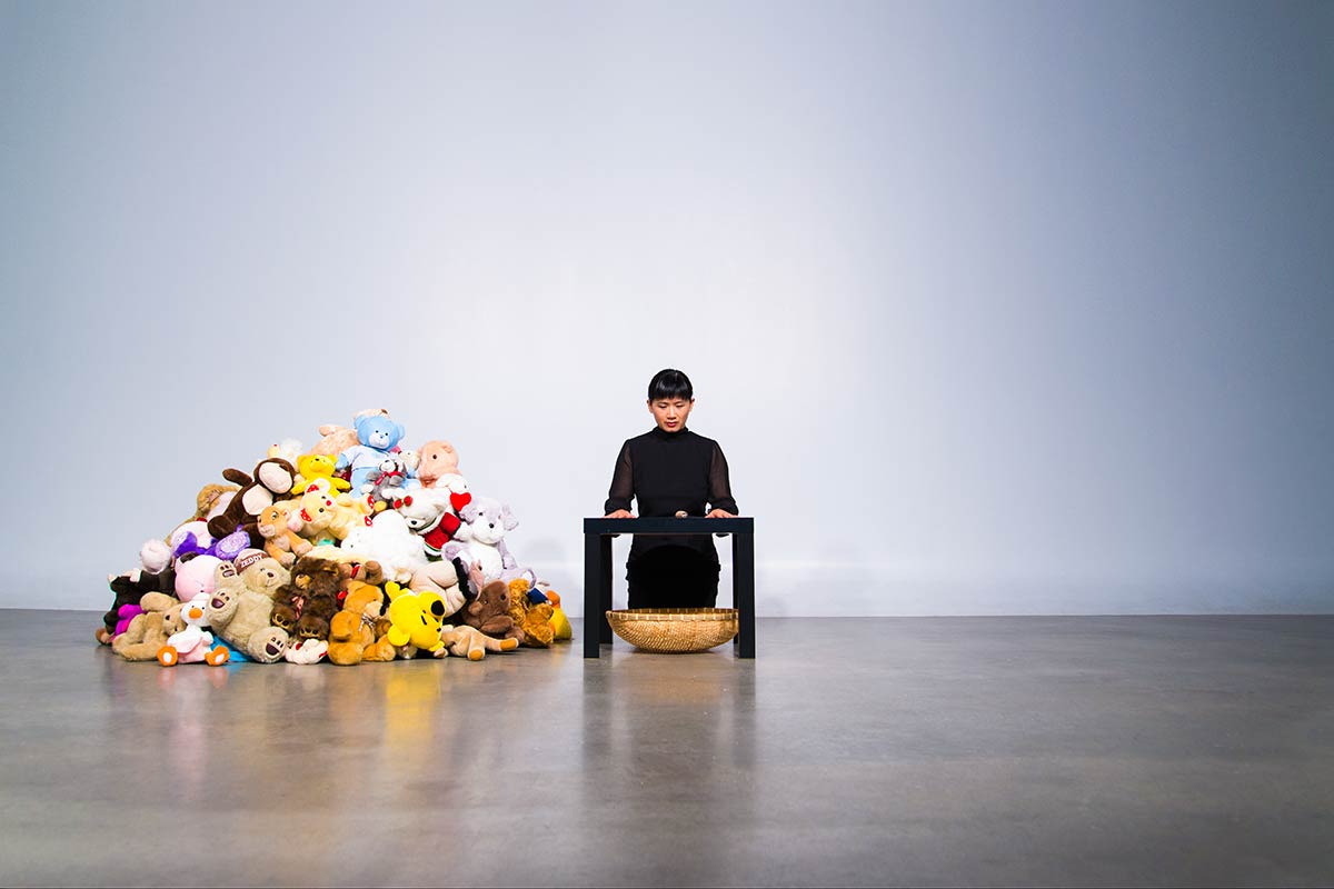 Chun Hua Catherine Dong collected stuffed animals, cut their mouths and sewed different mouths into different stuffed animals