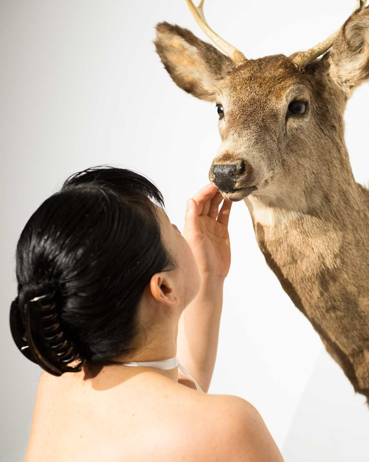 Chun Hua Catherine Dong touches the dead deer gently